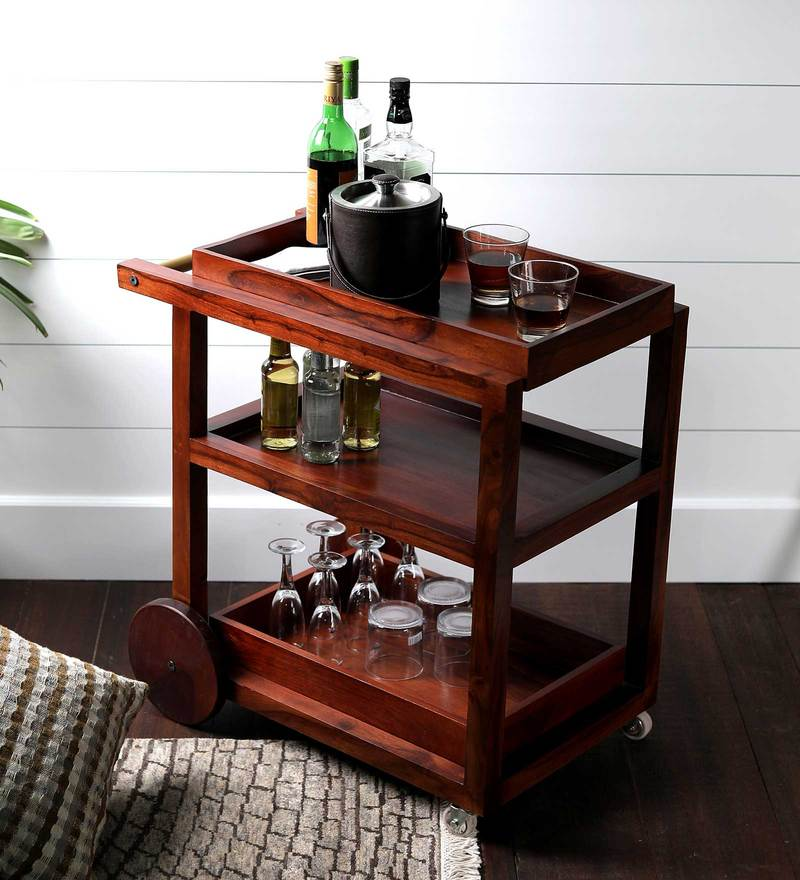 Castello Bar Trolley in Natural Sheesham Wood Finish by Asian Arts