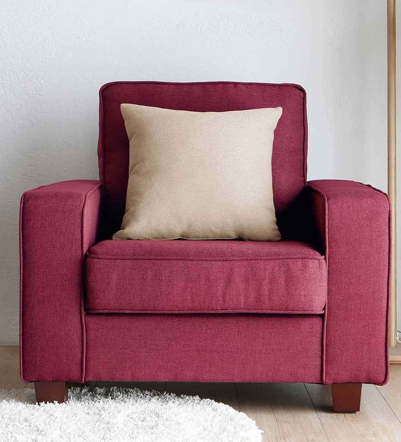 Castilla One Seater Sofa in Red Colour by CasaCraft