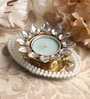 Blue Metal Mirror Tray with Pearl Beads & Kundan Tea Light Holder Stand by Candles N Beyond