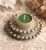 Green Metal Mirror Tray with Gold Beads & Tea Light Holder Stand by Candles N Beyond