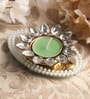 Green Metal Mirror Tray with Pearl Beads & Kundan Tea Light Holder Stand by Candles N Beyond