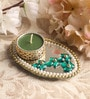 Candles N Beyond Green Metal Mirror Tray with Tea Light Holder with Kundan