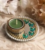 Green Metal Mirror Tray with Tea Light Holder with Kundan by Candles N Beyond