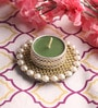 Green Wax Mirror Tea Light Holder by Candles N Beyond