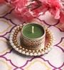 Green Wax Mirror Tea Light Holder by Candles N Beyond