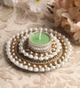 Multicolour Metal Mirror Tray with Pearl Beads & Tea Light Holder Stand by Candles N Beyond