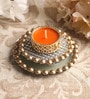 Orange Metal Mirror Tray with Gold Beads & Tea Light Holder Stand by Candles N Beyond