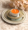Orange Metal Mirror Tray with Gold Pearl Beads & Tea Light Holder Stand by Candles N Beyond