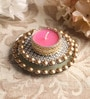 Pink Metal Mirror Tray with Gold Beads & Tea Light Holder Stand by Candles N Beyond