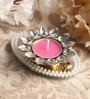 Pink Metal Mirror Tray with Pearl Beads & Kundan Tea Light Holder Stand by Candles N Beyond