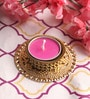 Pink Wax Tea Light Holder with Floating Candle by Candles N Beyond