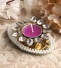 Purple Metal Mirror Tray with Pearl Beads & Kundan Tea Light Holder Stand by Candles N Beyond