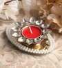 Red Metal Mirror Tray with Pearl Beads & Kundan Tea Light Holder Stand by Candles N Beyond