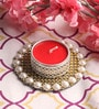 Red Wax Mirror Tea Light Holder by Candles N Beyond