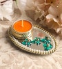 Yellow Metal Mirror Tray with Tea Light Holder with Kundan by Candles N Beyond