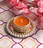 Yellow Wax Mirror Tea Light Holder by Candles N Beyond