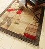 Beige & Brown Wool 96 x 60 Inch Village Design Hand Knotted Area Rug by Carpet Overseas