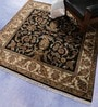 Black & Ivory Wool 62 x 62 Inch Persian Design Hand Knotted Area Rug by Carpet Overseas