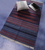 Blue & Rust Cotton 59 x 36 Inch Stripes Design Flatweave Area Rug by Carpet Overseas