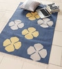 Blue & Yellow Cotton 60 x 38 Inch Floral Area Rug by Carpet Overseas