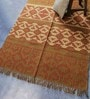 Green & Rust Jute 70 x 48 Inch Traditional Design Flatweave Area Rug by Carpet Overseas