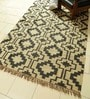 Ivory & Black Jute 95 x 62 Inch Kilim Design Flatweave Area Rug by Carpet Overseas