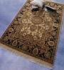 Ivory & Black Wool 72 x 48 Inch Persian Design Hand Knotted Area Rug by Carpet Overseas