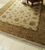 Ivory & Brown Wool 122 x 97 Inch Persian Design Hand Knotted Area Rug by Carpet Overseas