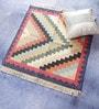Carpet Overseas Multicolour Cotton 35 x 35 Inch Checks Design Flatweave Area Rug
