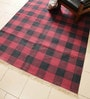 Carpet Overseas Red & Black Cotton 83 x 63 Inch Checks Design Flatweave Area Rug