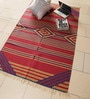 Red & Blue Cotton 72 x 46 Inch Kilim Design Flatweave Area Rug by Carpet Overseas