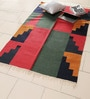 Carpet Overseas Red & Green Wool 66 x 44 Inch Flatweave Area Rug