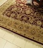 Red Wool 120 x 120 Inch Persian Design Hand Knotted Area Rug by Carpet Overseas