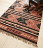 Rust & Black Jute 96 x 60 Inch Kilim Design Flatweave Area Rug by Carpet Overseas