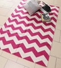 White & Pink Cotton 70 x 48 Inch Area Rug by Carpet Overseas