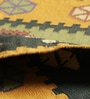 Yellow & Blue Cotton 69 x 48 Inch Flatweave Dhurrie by Carpet Overseas