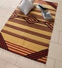Yellow & Rust Cotton 73 x 46 Inch Kilim Design Flatweave Area Rug by Carpet Overseas