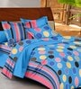 Casa Basic Blues Geometric Patterns Cotton Queen Size Bed Sheets - Set of 3