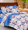 Casa Basic Multicolour Geometric Patterns Cotton Queen Size Bed Sheets - Set of 3