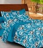 Casa Basic Blue Nature & Florals Cotton Queen Size Bed Sheets - Set of 3