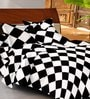 Casa Basic Black & White Geometric Patterns Cotton Queen Size Bed Sheets - Set of 3