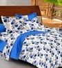 Casa Basic Blue & White Nature & Florals Cotton Queen Size Bed Sheets - Set of 3