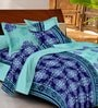 Casa Basic Blue Indian Ethnic Cotton Queen Size Bed Sheets - Set of 3