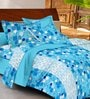 Casa Basic Blues Abstract Patterns Cotton Queen Size Bed Sheets - Set of 3