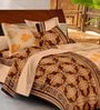 Casa Basic Brown Indian Ethnic Cotton Queen Size Bed Sheets - Set of 3
