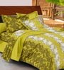 Casa Basic Green Nature & Florals Cotton Queen Size Bed Sheets - Set of 3