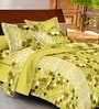 Casa Basic Green Geometric Patterns Cotton Queen Size Bed Sheets - Set of 3