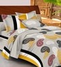 Casa Basic Grey Indian Ethnic Cotton Queen Size Bed Sheets - Set of 3