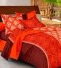 Casa Basic Orange Nature & Florals Cotton Queen Size Bed Sheets - Set of 3