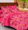Casa Basic Pinks Geometric Patterns Cotton Queen Size Bed Sheets - Set of 3